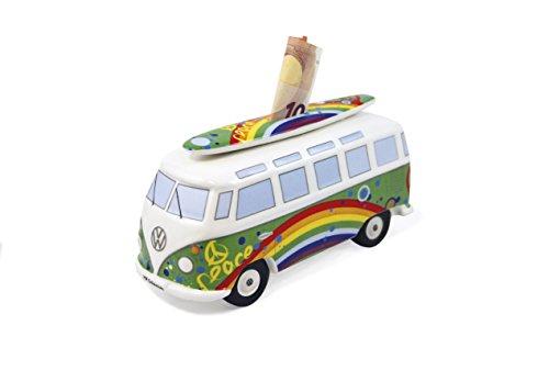 Brisa VW Collection - Volkswagen Furgoneta Hippie Bus T1 Van Hucha Vintage de Cerámica en Caja de Regalo, Caja de Dinero Reutilizable, Alcancía como Souvenir (Escala 1:18/Peace/Verde)