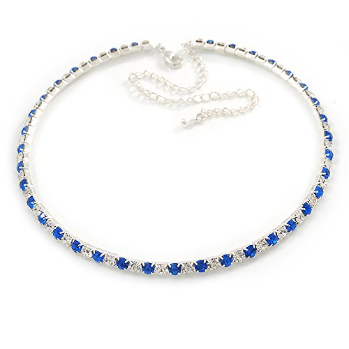 Avalaya Thin Sapphire Blue/Clear Austrian Crystal Choker Necklace in Rhodium Plated Metal - 33cm L/ 16cm Ext
