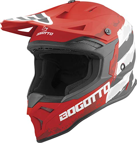 Bogotto V337 Wild-Ride Motocross Helm Rot/Schwarz/Weiß XL