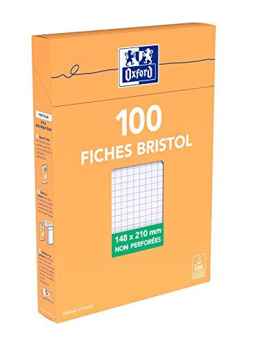 OXFORD 100 Fiches Bristol A5 (14,8 x 21cm) Petits Carreaux 5x5mm avec Etui Cartonné