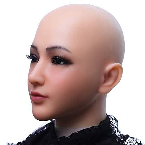 SXFYHXY Cosplay Make-up Weibliche Kopfmaske Handgemachte Weiche Silikon Realistische Maske Transgender Halloween Maske,Lvorywhite