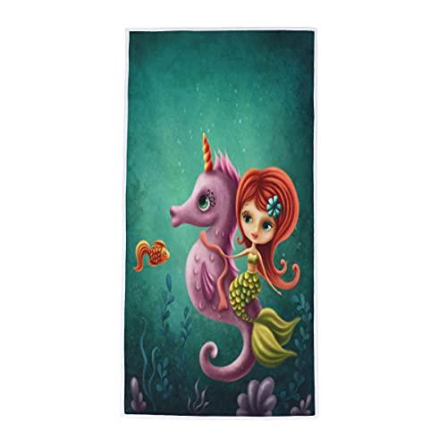 Toalla de mano con diseño de caballito de mar de sirena, toalla de mano, suave, absorbente, para baño, habitación, cocina, hotel, piscina, spa, gimnasio, 38 x 76 cm