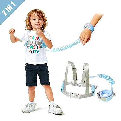 Toddler Leash /& Harness for Child Safety,2 in 1 Anti Lost Wrist Link Baby Walking Harness for 0-5 Years Kids Blue/&Red