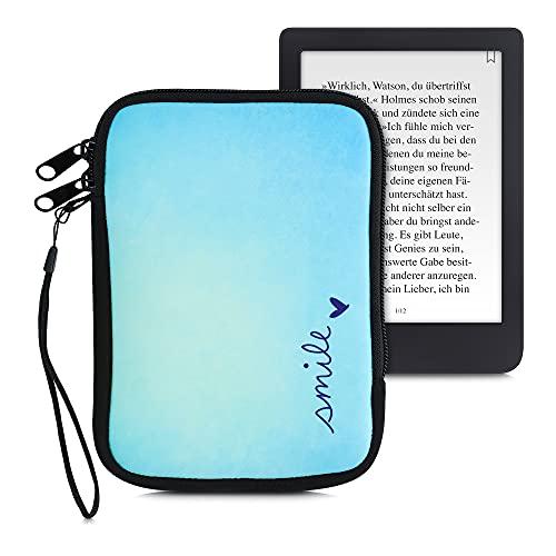 kwmobile Funda Universal para e-Book - Estuche de Neopreno con Cierre de Cremallera para e-Reader - Carcasa en Azul/Turquesa
