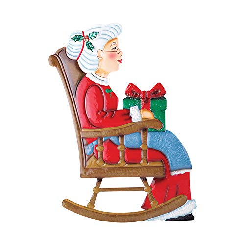 Collections Etc Outdoor Christmas Decoration - Rocking Chair Mr. & Mrs. Santa Claus, Mrs. Claus