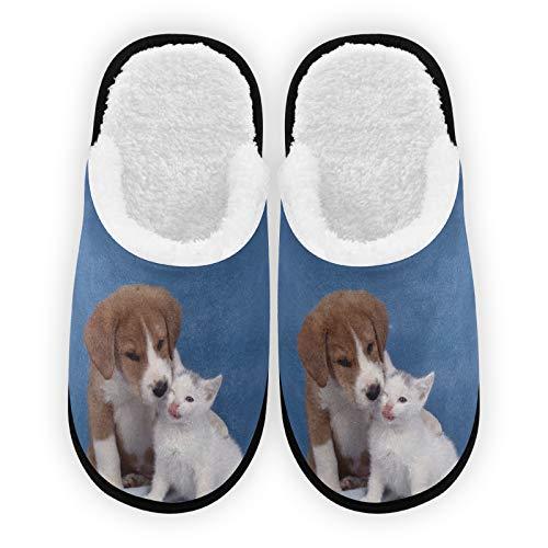 Zapatillas de invierno para hombre y mujer, forro de felpa para perro y gato, cómodas zapatillas de invierno para interior y exterior