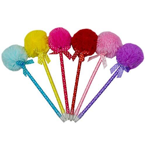 Maydahui 12PCS Pom Pom Ballpoint Pen Cute Kawaii Fluffy Ball Pens Bowknot Polka Dot Blue Gel Ink for School Kids Girls Valentine's Day