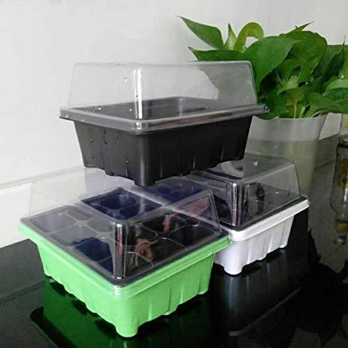 Poapo Zimmergewächshaus Mini Gewächshaus Treibhaus Anzucht Pflanztöpfe Aufzucht Frühbeet, Mini Anzuchthaus mit 12 Fächern (Zufällige Farbe)