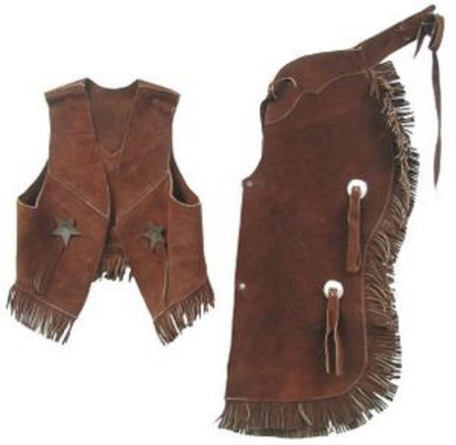 Childrens Western Vest & Chaps Set-black or Brown Suede Leather, S, M or L (Small2-3Brown)