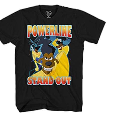 Disney Goofy Movie Powerline Stand Out Tour Mens T-Shirt (Medium, Black)