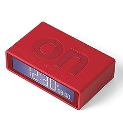 Lexon Flip Plus Reversible LCD Alarm Clock Radio Controlled - Red