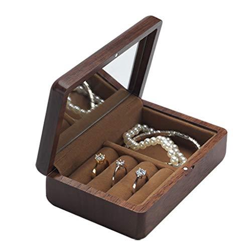 YYDS Mini Caja de joyería - joyería Caja for el Anillo del Pendiente del Collar, fácil de Llevar, 4.7'X3.2' X1.6'