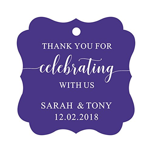 Darling Souvenir Fancy Frame Custom Paper Tags Thank You For Celebrating With Us Wedding Favor Gift Hang Tags-Purple Violet-50 Tags