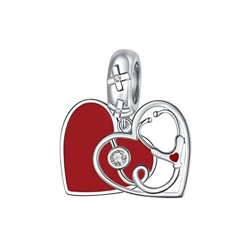 GaLon Encantos de Cuentas, S925 Sterling Silver DIY Love Stethoscopio Hecho a Mano de Aceite de Aceite de Aceite Rojo para Pandora Troll Chamilia Charm Pulsera Collares