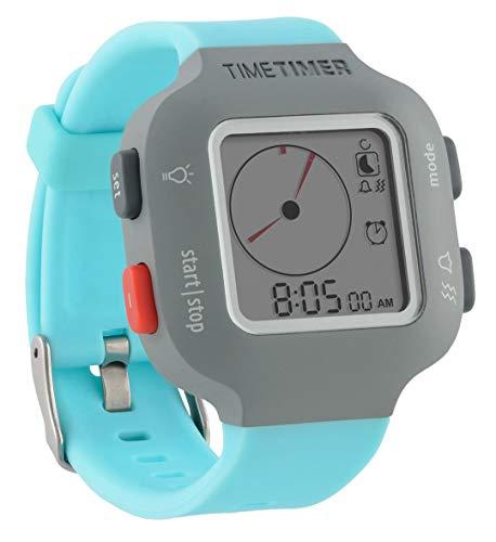 Time Timer horloge dames en kinderen grijs met lichtblauwe armband