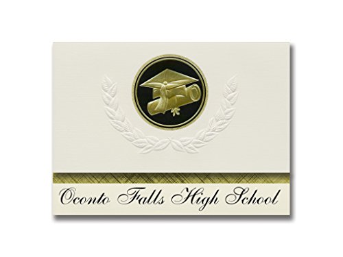 Signature Announcements Oconto Falls High School (Oconto Falls, WI) Graduation Announcements, Presidential style, Elite package of 25 Cap & Diploma Seal Black & Gold