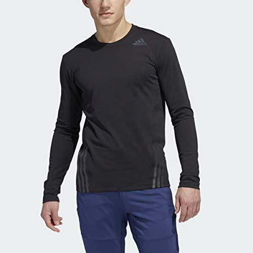 Adidas Aero - Camiseta de Manga Larga con 3 Rayas para Clima frío, Aero - Playera de Manga Larga para Clima frío, 3 Rayas, Negro, Mediano