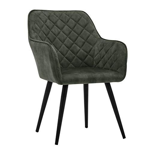 Duhome Esszimmerstuhl Polsterstuhl Armlehnstuhl mit Rückenlehne Sessel Metallbeine 8058-1, Farbe:Grün, Material:Samt Vintage