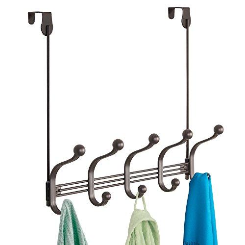 "iDesign York Metal 5-Hook Over-the-Door or Wall Mount Rack for Coats, Hats, Scarves, Towels, Robes, Jackets, Purses, 15.62"" x 5.35"" x 12.83"", Bronze"