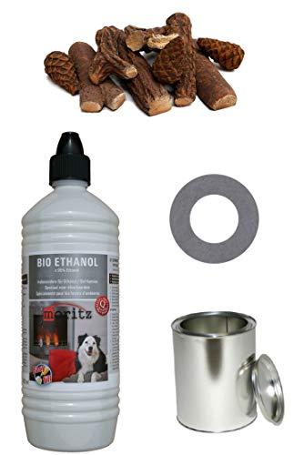 Moritz Starter Set 2 X 1000 ML Bioetanolo + 6 X Barattolo 250 ML Con Coperchio + Salvadanaio + 9 Pezzi In Ceramica Legno Set Per Bruciatore Camino Bruciatore Di Sicurezza Pasta Combustibile