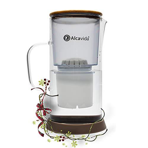 Alcavida Jarra alcalinizadora de Agua Cristal Borosilicato Filtra, purifica e ioniza el Agua del Grifo | CREA Agua alcalina ionizada antioxidante al Momento Ph 8,5+| hasta 450 L Modelo 2021