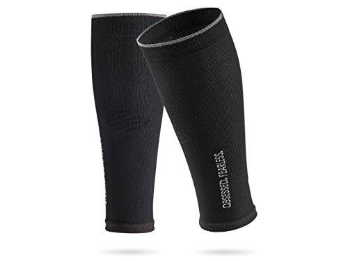 SportHacks Sleeves - Schienbeinschonerhalter & Stutzenhalter mit Kompressionseffekt (schwarz, IV | Wadenumfang 39-44cm)
