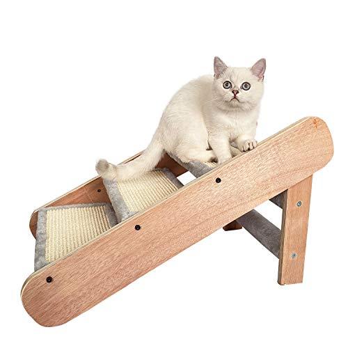 Liszton Katzentreppe und Hundetreppe Rampe 2-in-1, klappbar DREI Stufen, Holz+MDF