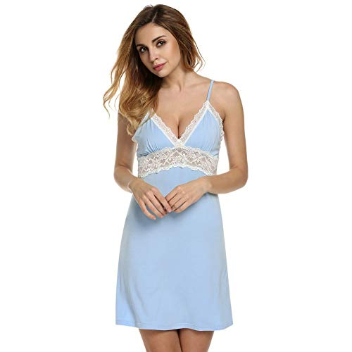 Nachthemd Dames Sexy Spaghettibandjes Kant Patchwork Lingerie Jurk Nachtkleding Sleepshirts Maat S-XL Lichtblauw