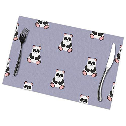 Weiping shop Panda Baby Patroon Naadloze Placemats Set Van 6 Voor Eettafel Wasbaar Geweven Vinyl Placemat Niet-slip Hittebestendige Keuken Tafelmatten Gemakkelijk te reinigen (Set Van 6)