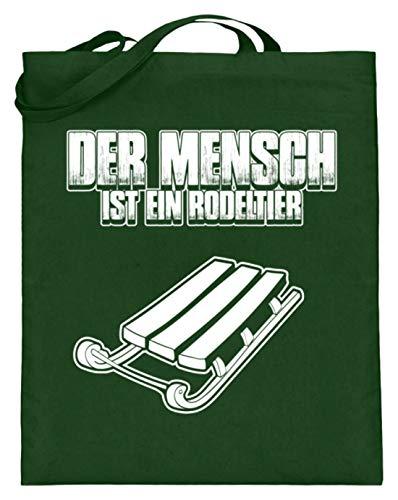 shirt-o-magic Rodel Schlitten: Mensch = Rodeltier - Jutebeutel (mit langen Henkeln) -38cm-42cm-Grün