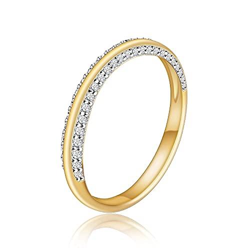Anillo de media eternidad de plata de ley 925 para mujer con anillos de banda infinita chapados en oro de 18 quilates Anillos de compromiso de circonita cúbica