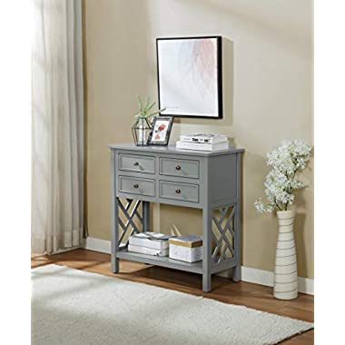 Coventry 32″ W Wood Console Table with 4-Drawers, Gray