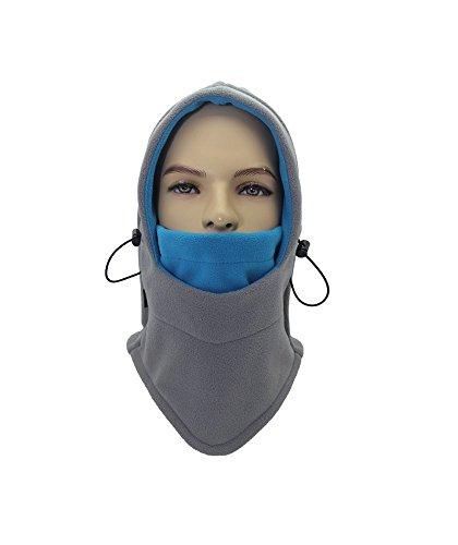 Tofern Tofern Unisex Kapuzenmütze Sturmhaube Kopftuch Fleece warm für Skifahren Laufen Outdoor, Grau& Himmelblau Kopfumfang (56-60cm)