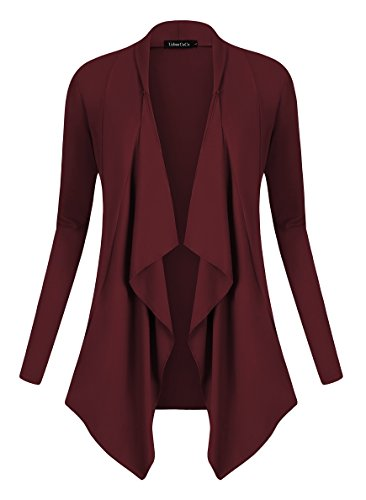 Urban GoCo Damen Strickjacke Cardigan Langarmshirt Wasserfall Strickmantel (L, Windsor Wine)