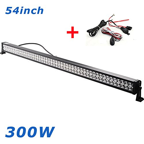BRIGHTUM 54inch 300W faro faro da lavoro work light bar bianco 12 V 24 V 11400lm riflettori LED luce di lavoro Offroad SUV ATV UTV, trattore, scavatore camion auto (50')