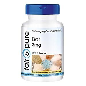 Boron 3mg - Suplemento de Boro - de Tetraborato de sodio - Oligoelemento esencial vegano -Alta pureza - 120 Comprimidos