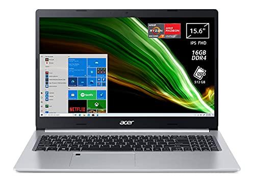 Acer Aspire 5 A515-45-R3BP PC Portatile, Notebook con Processore AMD Ryzen 7 5700U, RAM 16 GB DDR4, 512 GB PCIe NVMe SSD, Display 15.6  FHD IPS LED LCD, AMD Radeon, Windows 10 Home, Silver