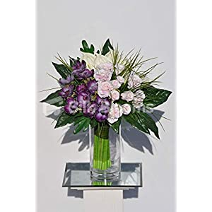 Silk Blooms Ltd Artificial Purple Fresh Touch Anemone,Rose and Anthurium Arrangement w/Leaves and Grass