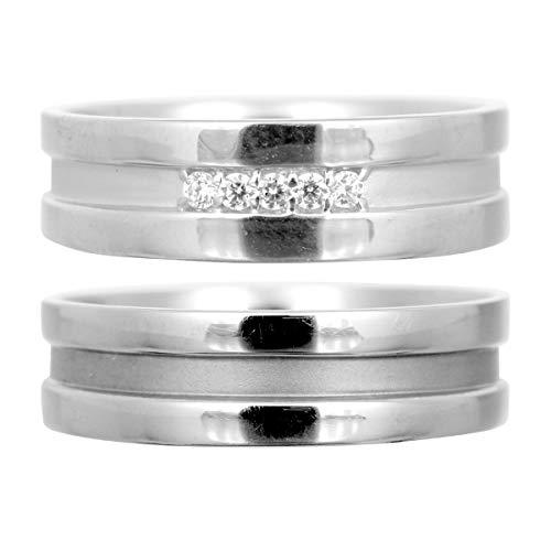 [ココカル]cococaru ペアリング 2本セット ダイヤリング K10 ホワイトゴールド ダイヤモンド マリッジリング 結婚指輪 日本製(レディースサイズ12号 メンズサイズ18号)
