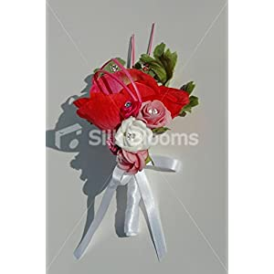 Red Anemone & Pink Roses Groom Buttonhole with Cystal Sprays