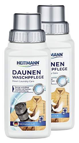 Heitmann Daunen Wäsche: reinigt und pflegt Textilien mit Daunenfüllung, ideal für die schonende Reinigung von Daunen-Jacken, Federkissen, Federbetten, 250ml, 2er Pack