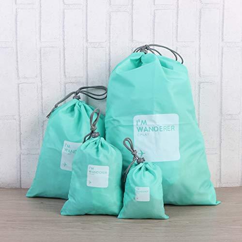 Lurrose Nylon dragskoväskor 4 i 1 reseförvaringsväskor packpåse vattentäta nylonpåsar för resor affärsresa hemmabruk