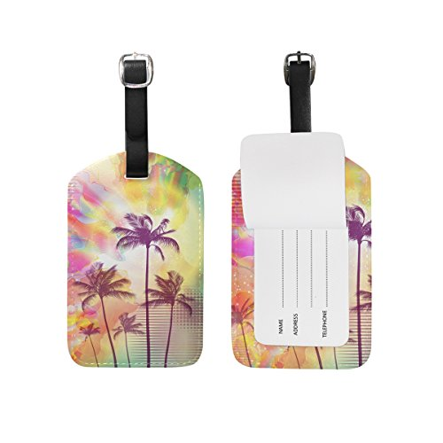 Palm Trees with Sunset Luggage Tags,Bag Tags Travel ID Labels For Baggage Suitcases