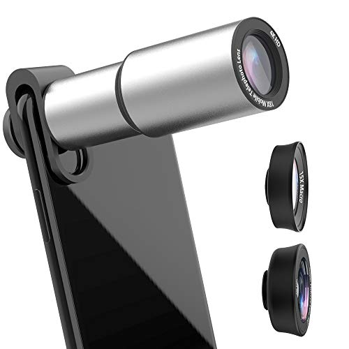 Phone Camera Lens Kit, LcueGuk 3 in 1 Cell Phone Camera Lens with HD 18X Zoom Telephoto Lens/180 Degree Wide Angle Lens/15X Macro Lens, Professional Telescope Lens for iPhone, Samsung & More (Silver)