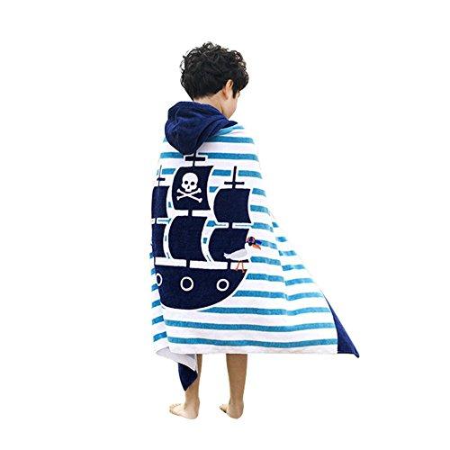 Amkun Kinder-Badetuch, Poncho, mit Kapuzen, groß, für den Strand, mit surfendem Krokodil-Muster, für Mädchen und Jungen, 4 - 14Jahre pirat