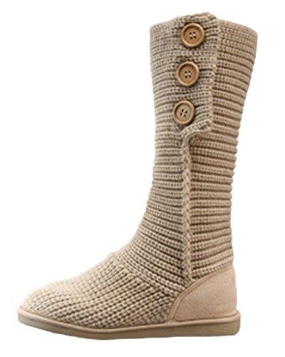 Minetom Mujer Retro Otoño Invierno Botines Tejer de Ganchillo Zapatos Caliente 3 Botones Clásico Cardy Botas Beige EU 36
