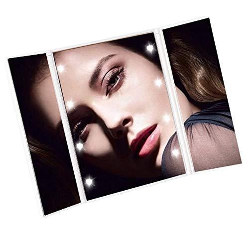 Miroir de Maquillage à LED, Miroir de Maquillage Pliable, Design Pliable, Miroir carré Haute définition à 3 côtés, lumière Naturelle LED, Stockage Facile