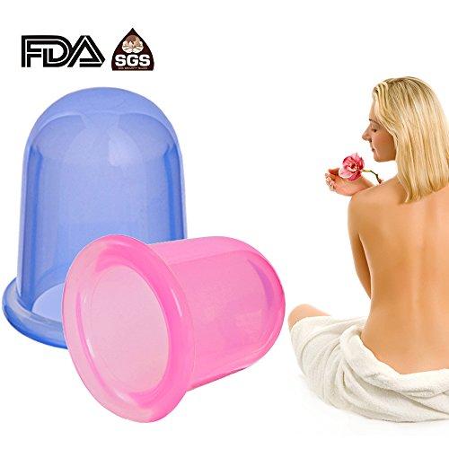 Preisvergleich Produktbild Schröpfe Silikon Becher Set, Anti Cellulite Therapie für Körper-Massage. Das Set enthält 1 x Mediumbecher,  1 x Großbecher