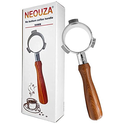 NEOUZA Bodenloser Kaffee Siebträger, 54mm, kompatibel mit Breville 870/875/878/880 Filterkorb, Edelstahl-Espresso-Maschine, Holzgriff (Portafilter)