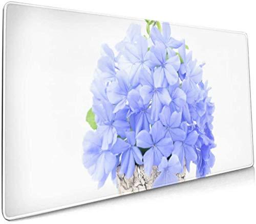 Langes Mousepad (35,5 x 15,8 Zoll) Plumbago Auriculata auf weißer Schreibtischunterlage Tastaturmatte, rutschfeste Basis, wasserdicht, für Arbeit und Spiele, Büro und Zuhause